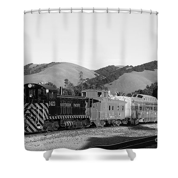 Historic Niles Trains in California . Southern Pacific Locomotive and Sante Fe Caboose.7D10819.bw Shower Curtain by Wingsdomain Art and Photography