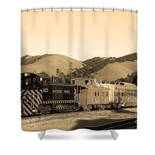 Historic Niles Trains in California.Southern Pacific Locomotive and Sante Fe Caboose.7D10819.sepia Shower Curtain by Wingsdomain Art and Photography