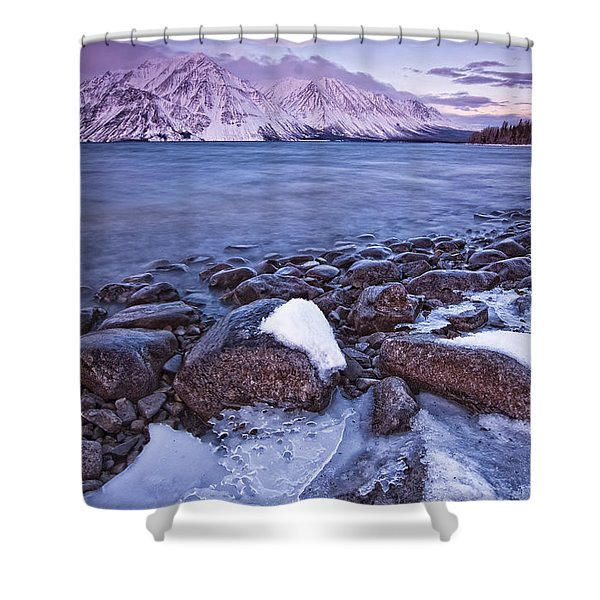Kathleen Lake At Sunrise, Kluane Shower Curtain by Robert Postma