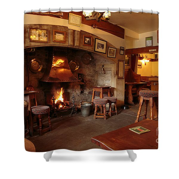 Kings Head Pub Kettlewell Shower Curtain by Louise Heusinkveld