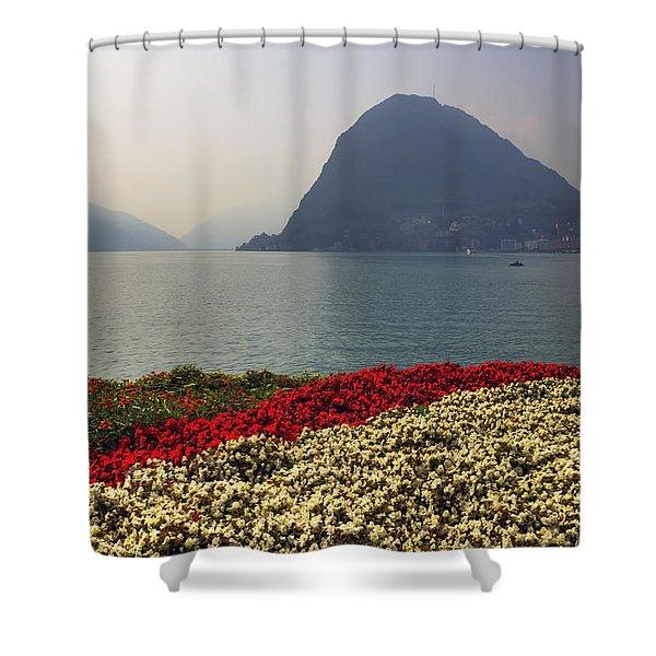 Lake Lugano - Monte Salvatore Shower Curtain by Joana Kruse