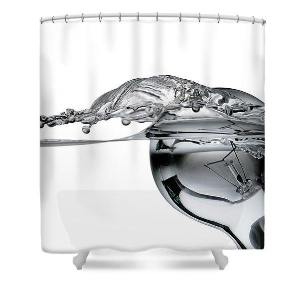light bulb and splash water Shower Curtain by Setsiri Silapasuwanchai