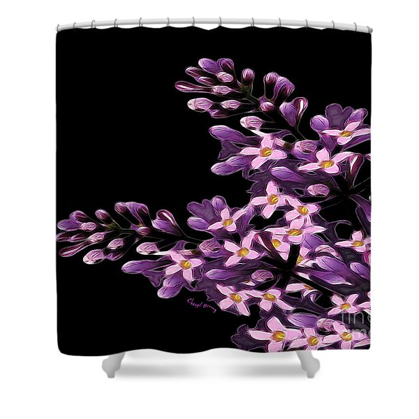 Lilacs Shower Curtain by Cheryl Young