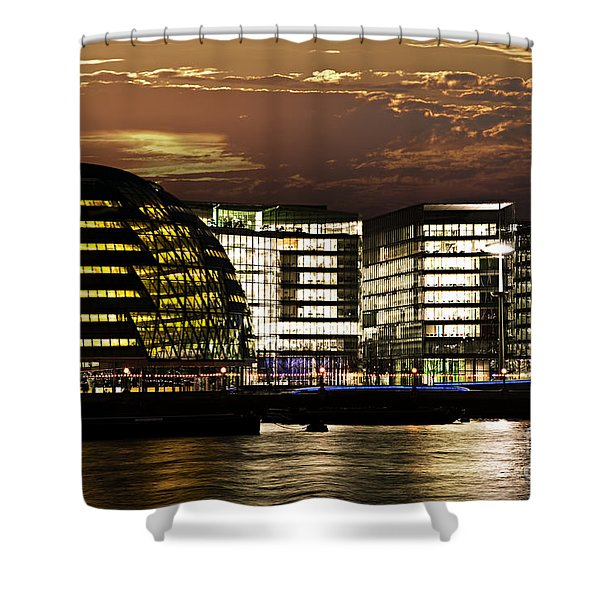 London city hall at night Shower Curtain by Elena Elisseeva