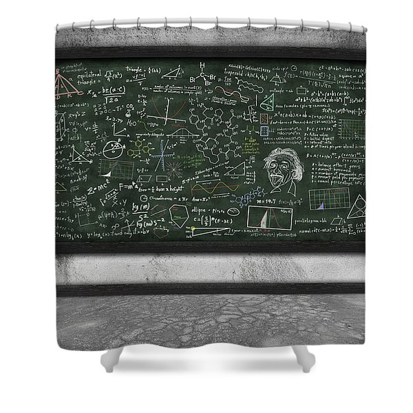 maths formula on chalkboard Shower Curtain by Setsiri Silapasuwanchai