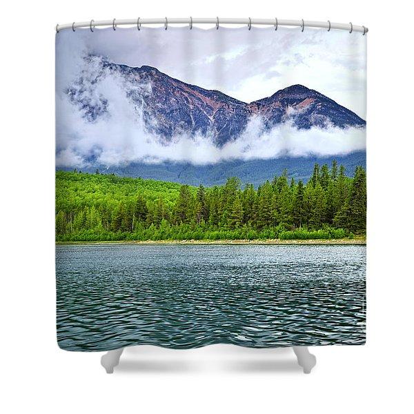 Mountain lake in Jasper National Park Shower Curtain by Elena Elisseeva