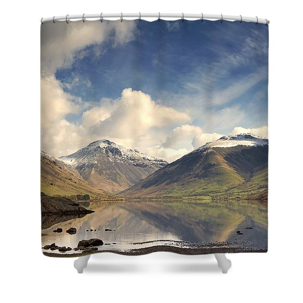 Mountains And Lake At Lake District Shower Curtain by John Short