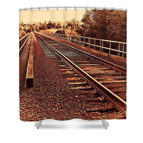 Muir Railroad Trestle In Martinez California . 7d10218 Shower Curtain by Wingsdomain Art and Photography