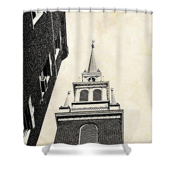 Old North Church in Boston Shower Curtain by Elena Elisseeva