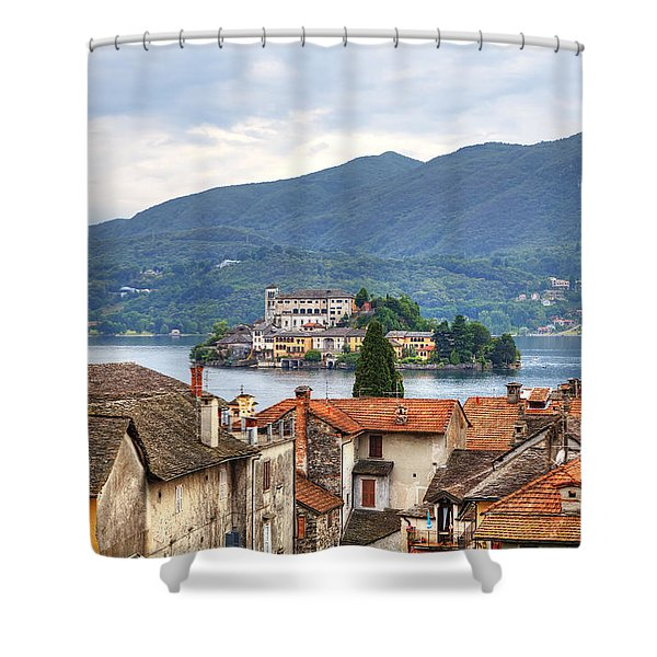 Orta - overlooking the island of San Giulio Shower Curtain by Joana Kruse