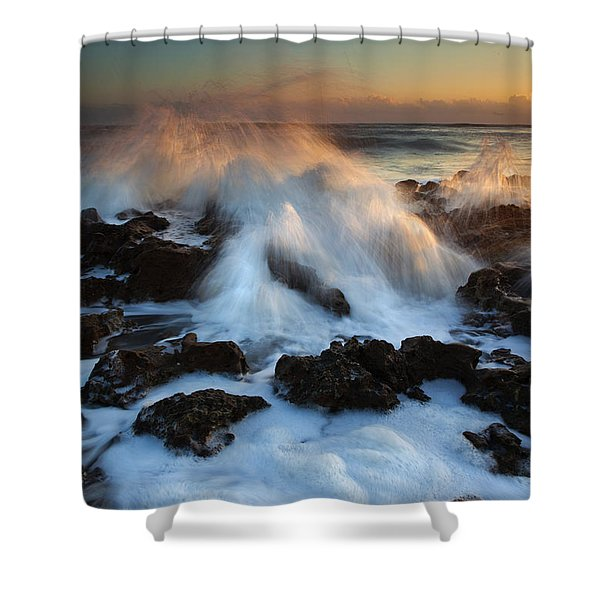 Over the Rocks Shower Curtain by Mike  Dawson