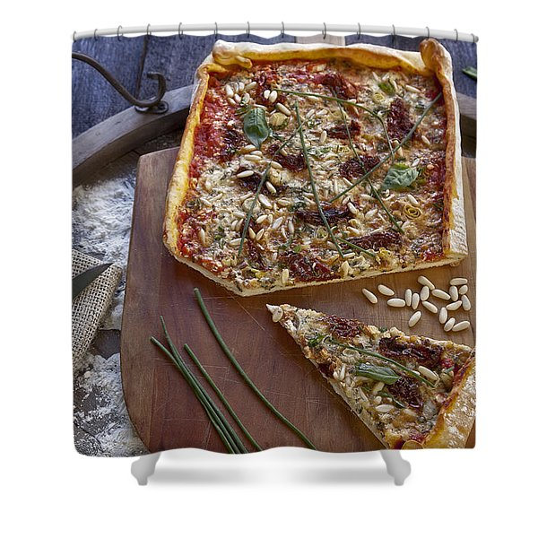 Pizza with herbs Shower Curtain by Joana Kruse