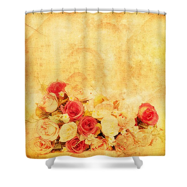 Retro Flower Pattern Shower Curtain by Setsiri Silapasuwanchai