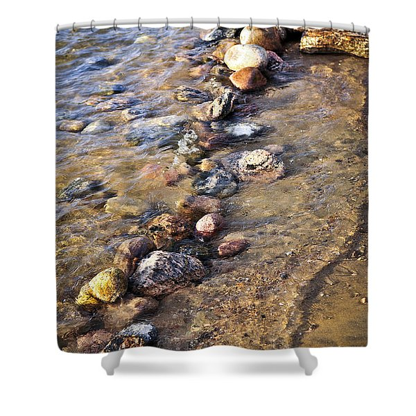 Rocks in water Shower Curtain by Elena Elisseeva