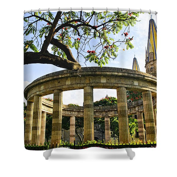 Rotunda Of Illustrious Jalisciences And Guadalajara Cathedral Shower Curtain by Elena Elisseeva