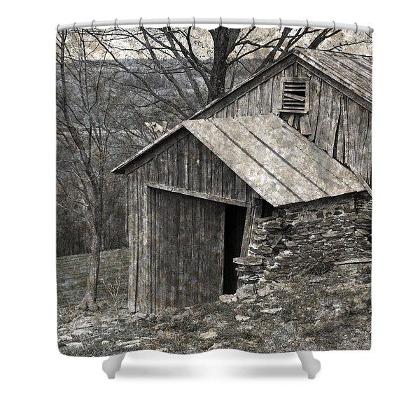 Rustic Hillside Barn Closeup Shower Curtain by John Stephens