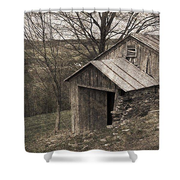 Rustic Hillside Barn Pasture Shower Curtain by John Stephens