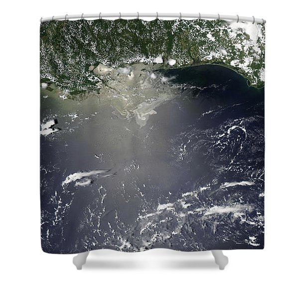 Satellite View Of Oil Leaking Shower Curtain by Stocktrek Images
