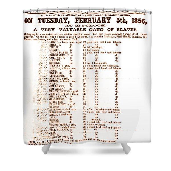 Slave Auction Notice Shower Curtain by Photo Researchers, Inc.