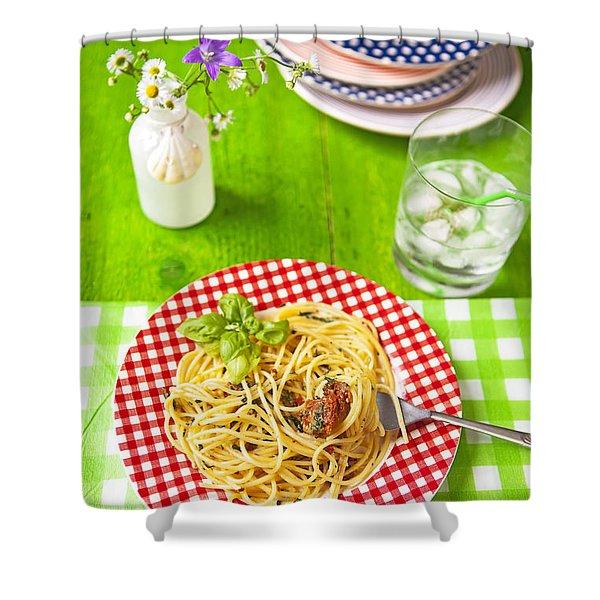 Spaghetti al pesto Shower Curtain by Joana Kruse