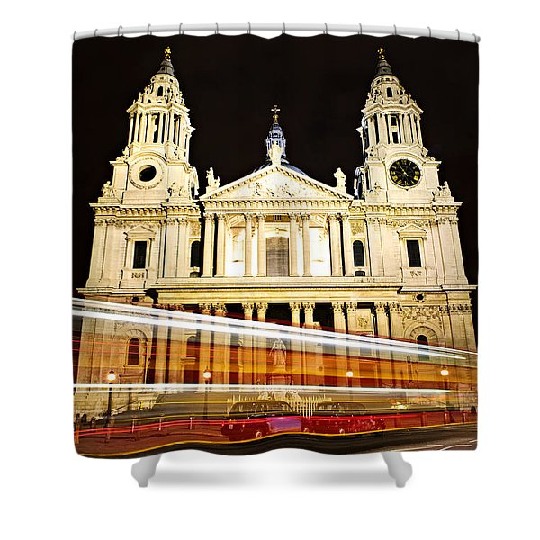 St. Paul's Cathedral in London at night Shower Curtain by Elena Elisseeva