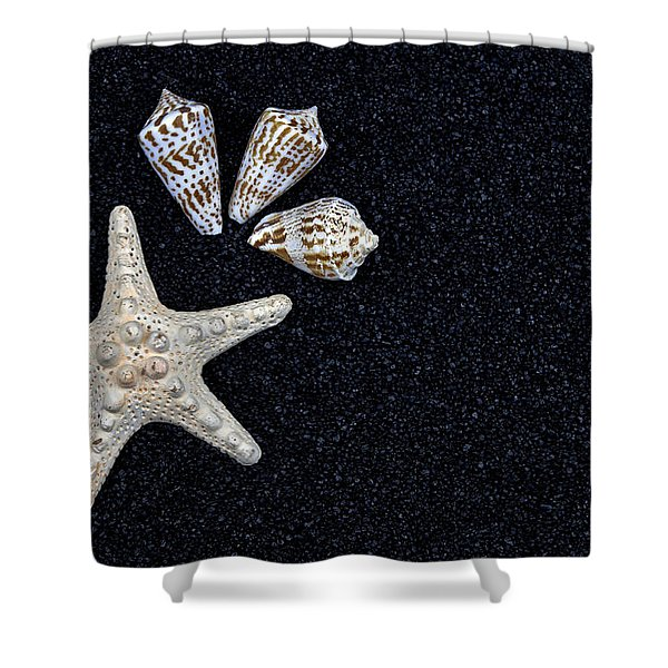 starfish on black sand Shower Curtain by Joana Kruse