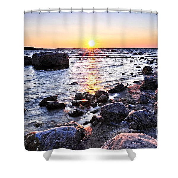 Sunset Over Water Shower Curtain by Elena Elisseeva