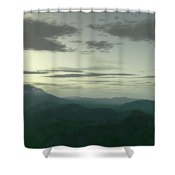 Terragen Render Of Mt. St. Helens Shower Curtain by Rhys Taylor