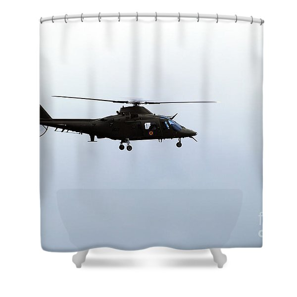 The Agusta A-109 Helicopter Shower Curtain by Luc De Jaeger