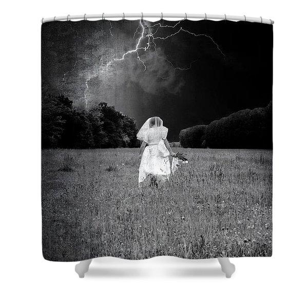 the bride Shower Curtain by Joana Kruse
