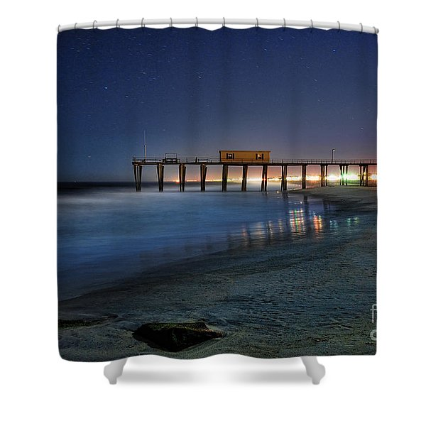 The Fishing Pier Shower Curtain by Paul Ward