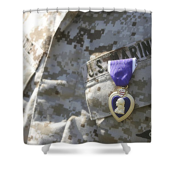 The Purple Heart Award Hangs Shower Curtain by Stocktrek Images