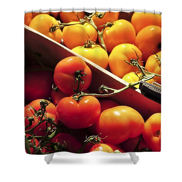 Tomatoes On The Market Shower Curtain by Elena Elisseeva
