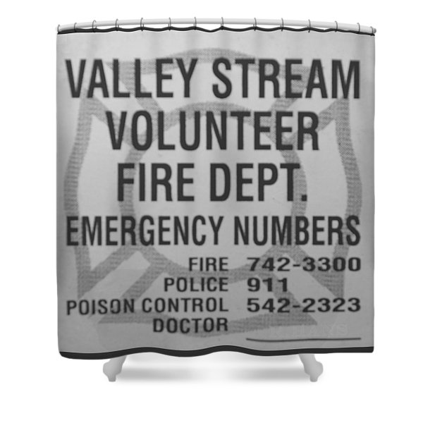 VALLEY STREAM FIRE DEPARTMENT in BLACK AND WHITE Shower Curtain by ROB HANS
