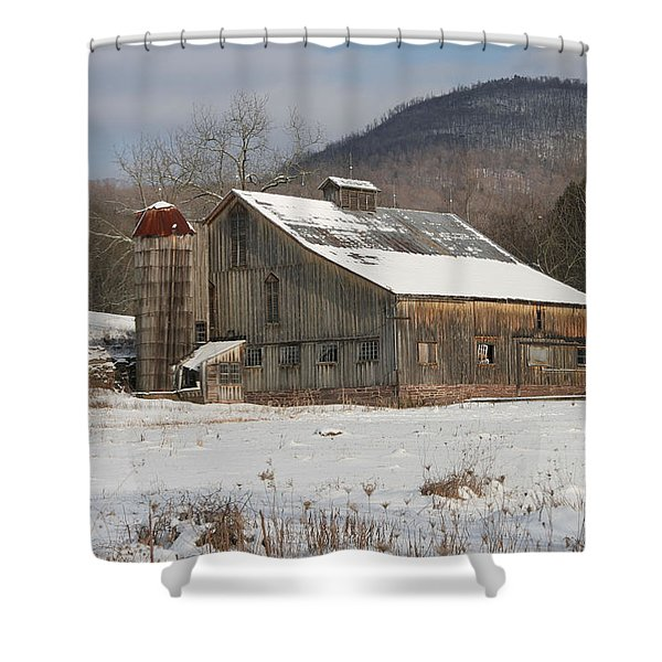 Vintage Weathered Wooden Barn Shower Curtain by John Stephens