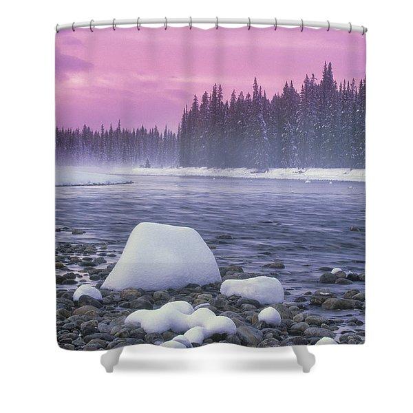 Winter Sunset On Bow River, Banff Shower Curtain by Darwin Wiggett