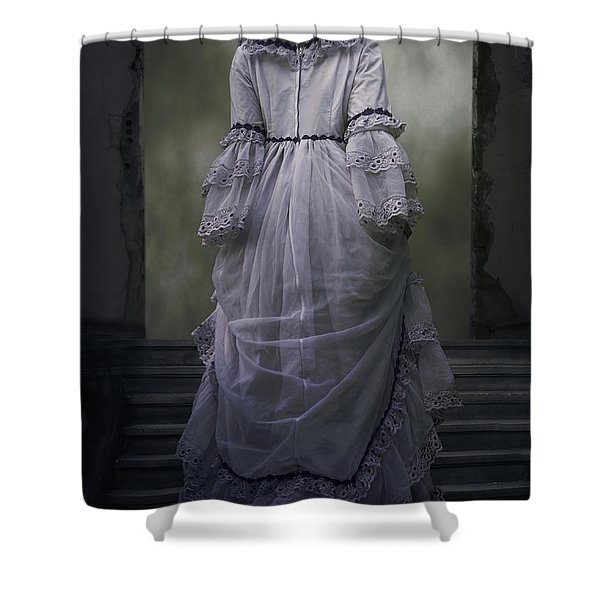 woman on steps Shower Curtain by Joana Kruse