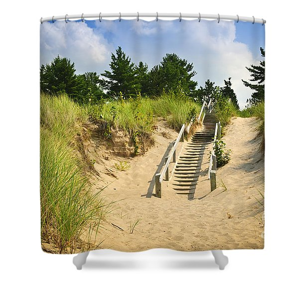 Wooden stairs over dunes at beach Shower Curtain by Elena Elisseeva