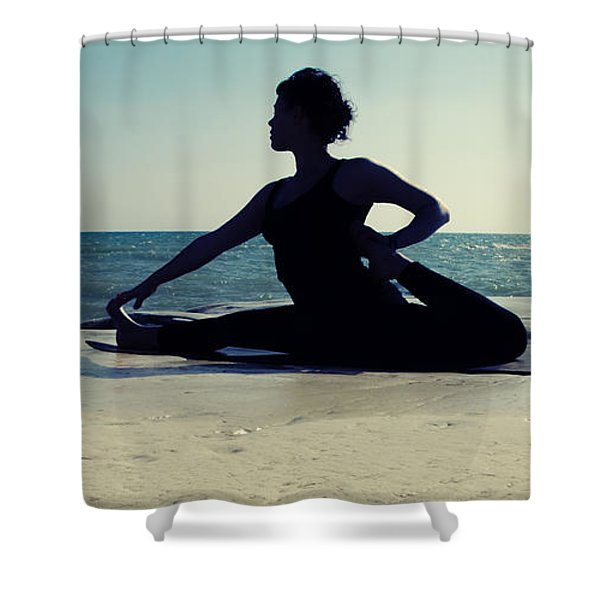 Yoga Shower Curtain by Stylianos Kleanthous