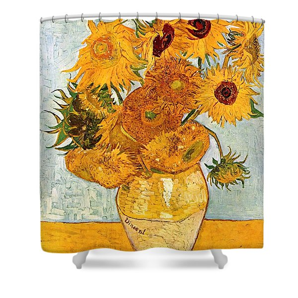 12 Sunflowers In A Vase Shower Curtain by Sumit Mehndiratta