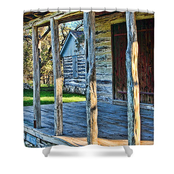 1860 Log Cabin Porch Shower Curtain by Linda Phelps