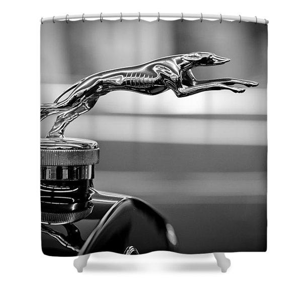 1925 Lincoln Town Car Hood Ornament Shower Curtain by Sebastian Musial