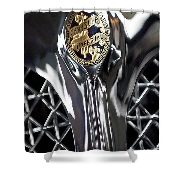 1931 Chrysler Cg Imperial Roadster Hood Emblem Shower Curtain by Jill Reger