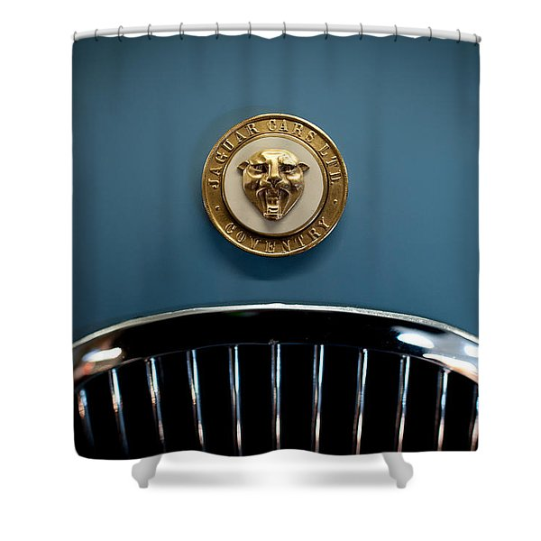 1952 Jaguar Hood Ornament Shower Curtain by Sebastian Musial