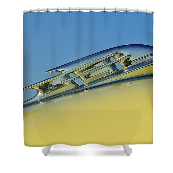 1953 Plymouth Hood Ornament 2 Shower Curtain by Jill Reger