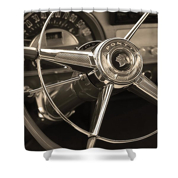 1953 Pontiac Steering Wheel - Sepia Shower Curtain by Jill Reger