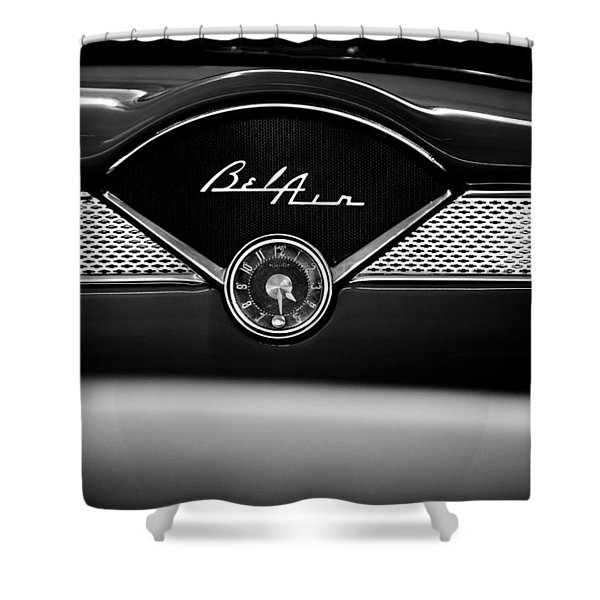1955 Chevy Bel Air Glow Compartment in Black and White Shower Curtain by Sebastian Musial