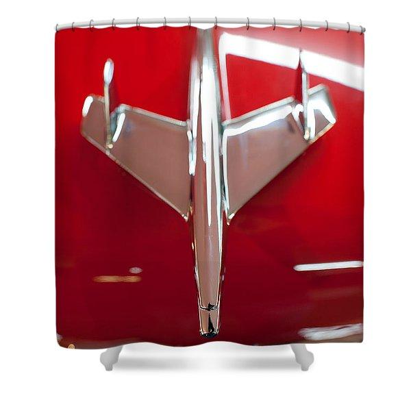 1955 Chevy Belair Hood Ornament Shower Curtain by Sebastian Musial