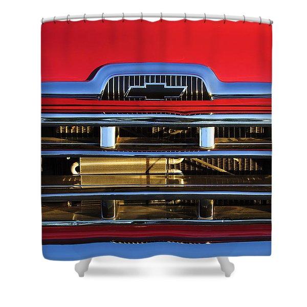 1957 Chevrolet Pickup Truck Grille Emblem Shower Curtain by Jill Reger