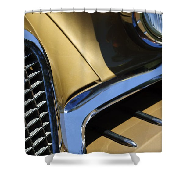 1957 Studebaker Golden Hawk Hardtop Grille Emblem Shower Curtain by Jill Reger